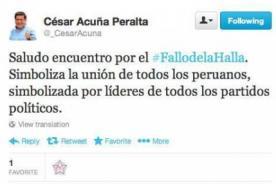 César Acuña recibe críticas por mala ortografía y escribir #FalloDeLaHalla