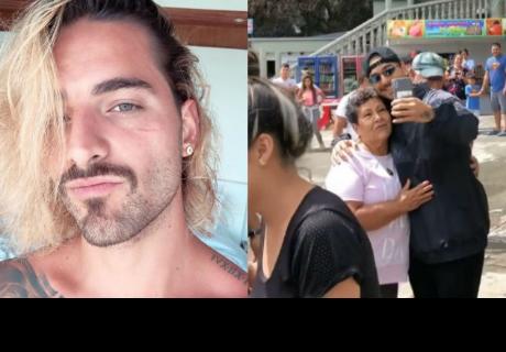 Maluma le robó beso a señora que le pidió una foto