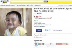 Bebé iba a ser subastado en Mercado Libre de México