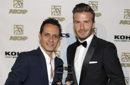 David Beckham y Marc Anthony juntos en premiación