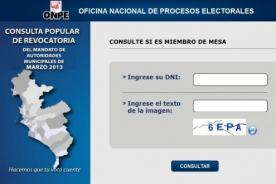 Miembros de mesa 2013: Página web de ONPE ya está activa - Revocatoria