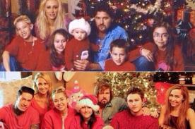 Miley Cyrus recrea foto familiar de su niñez en Navidad
