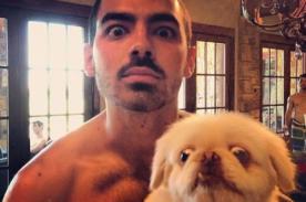 Joe Jonas luce su musculatura en graciosa foto junto a su mascota