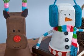 Felices Fiestas: Haz graciosos adornos navideños con macetas