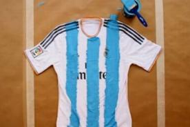 Liga BBVA: Camiseta del Real Madrid pintada con los colores albicelestes - VIDEO