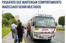 Pasajeros que ingresen a buses en estado etílico pagaran S/. 760 de multa