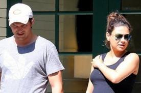 Mila Kunis embarazada luce su pancita con Ashton Kutcher [Fotos]