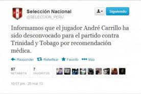 Perú vs. Trinidad y Tobago: André Carrillo fue desconvocado