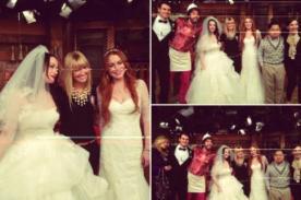 Lindsay Lohan viste de 'novia' en capítulo de '2 Broke Girls'