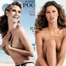 Heidi Klum y Gisele Bundchen aparecen topless en revista GQ
