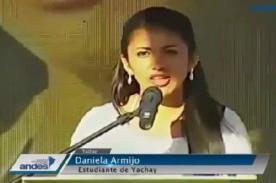 Estudiante ecuatoriana hace llorar a presidente Rafael Correa – VIDEO