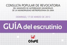 Revocatoria Villarán: Descarga la guía de Escrutinio