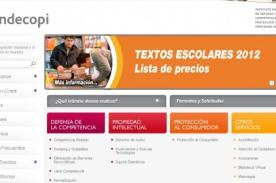 Indecopi 2012: Lista de precios de textos escolares