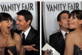 Tom Cruise y Katie Homes amorosos en fiesta del Oscar