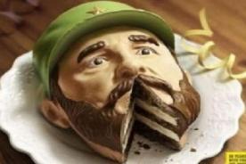 Torta con rostro de Fidel Castro y la boca rebanada causa controversia