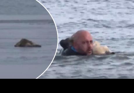 Policía rescata a perro de lago congelado y se gana la admiración de todos