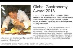 Gastón Acurio ganó el Premio de Gastronomía 2013