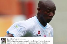 Play Off 2013: Jhoel Herrera mostró su fastidio por insultos en aeropuerto