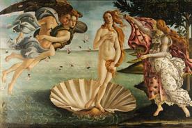 Hombre se desnuda delante del cuadro del Nacimiento de Venus