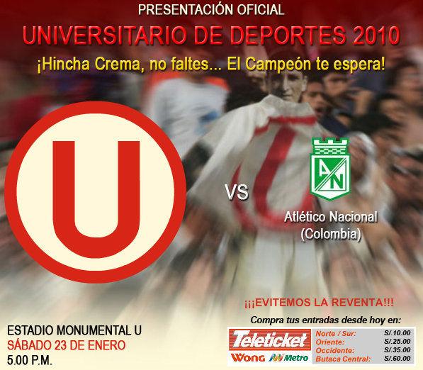 Universitario empata 2-2 en el amistoso con Nacional de Medellín